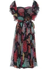 Dolce & Gabbana Woman Ruffle-trimmed Printed Silk-chiffon Midi Dress Black