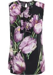 Dolce & Gabbana Woman Ruffle-trimmed Silk Crepe De Chine Blouse Black