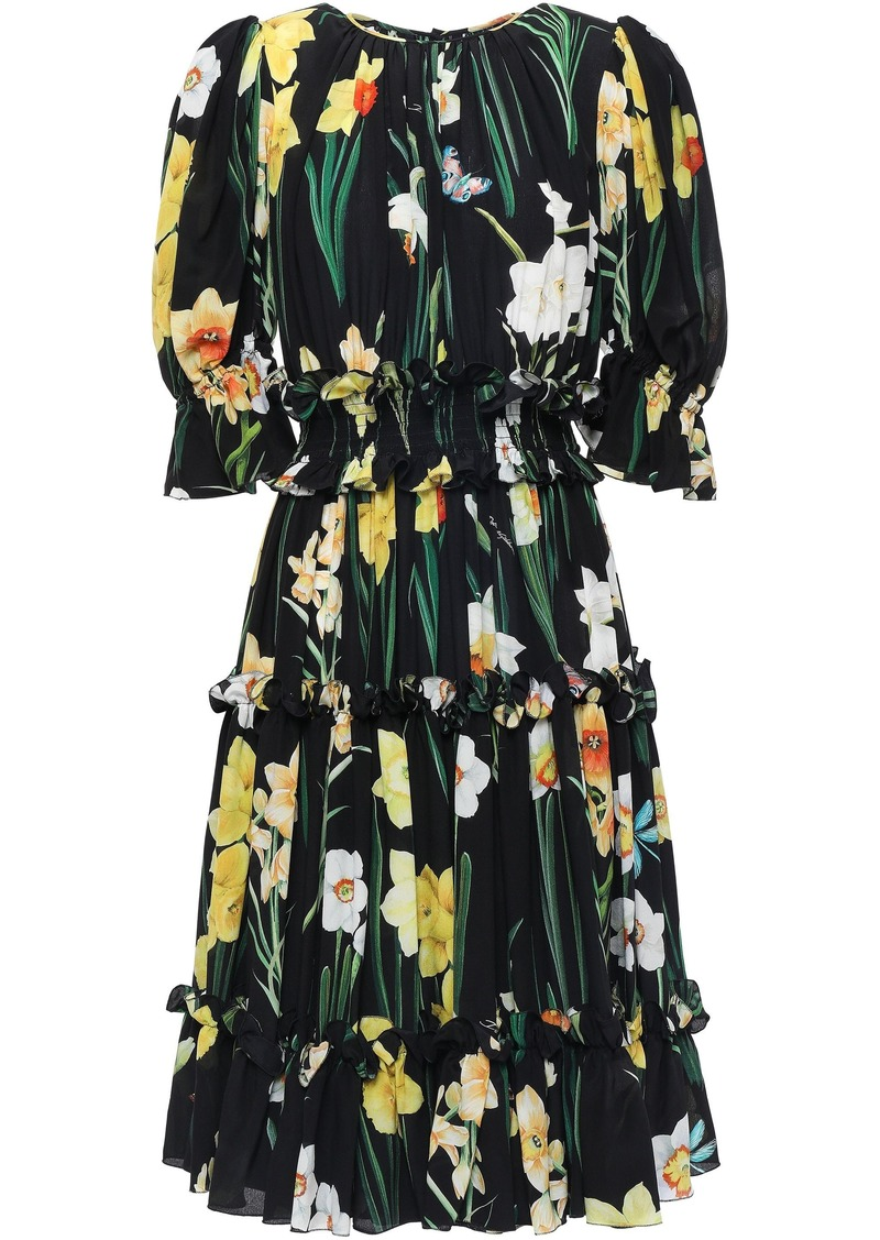 Dolce & Gabbana Woman Ruffled Floral-print Silk Crepe De Chine Dress Black