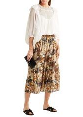 Dolce & Gabbana Woman Ruffled Guipure Lace-paneled Silk-georgette Blouse Ivory