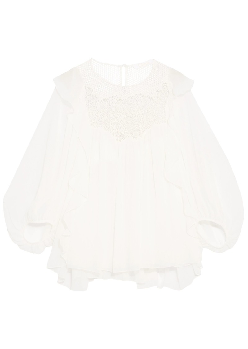 Dolce & Gabbana Woman Ruffled Guipure Lace-paneled Silk-georgette Blouse Ivory