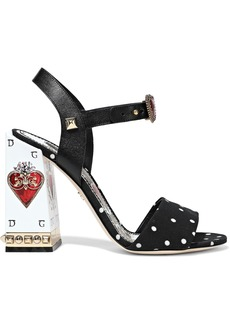 Dolce & Gabbana Woman Sacred Heart Embellished Leather And Polka-dot Cady Sandals Black