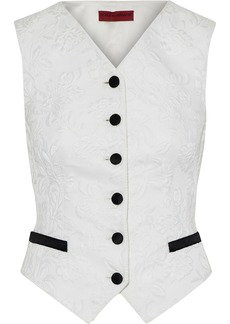 Dolce & Gabbana Woman Satin-trimmed Cotton-blend Matelassé Vest Ivory