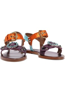 Dolce & Gabbana Woman Satin-trimmed Embellished Color-block Snake-effect Leather Sandals Purple