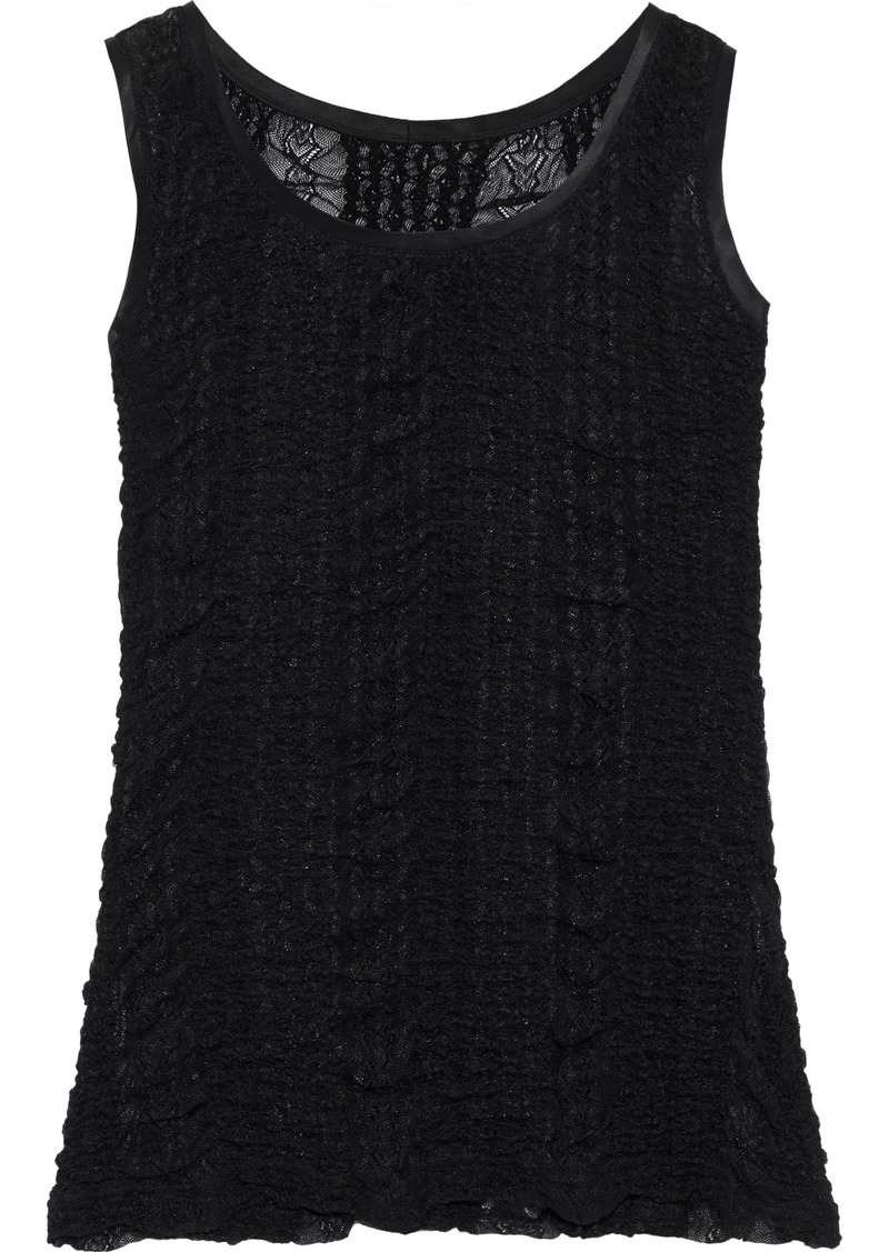 Dolce & Gabbana Woman Satin-trimmed Ruched Lace Tank Black