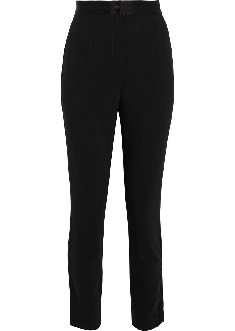 Dolce & Gabbana Woman Satin-trimmed Stretch-wool Skinny Pants Black