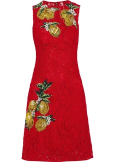 Dolce & Gabbana Woman Sequin-embellished Corded Lace Dress Red