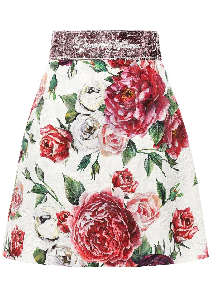 Dolce & Gabbana Woman Sequin-embellished Floral-print Cotton-blend Jacquard Mini Skirt White