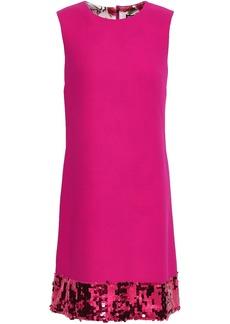 Dolce & Gabbana Woman Sequin-embellished Wool-blend Crepe Dress Bright Pink