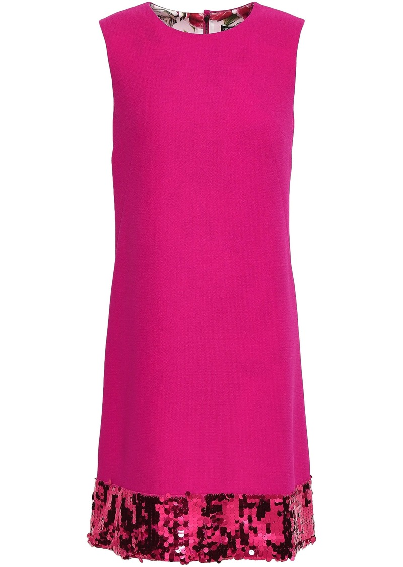 Dolce & Gabbana Woman Sequin-embellished Wool-blend Crepe Dress Bright Pink