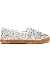 Dolce & Gabbana Woman Sequined Leather Espadrilles Silver