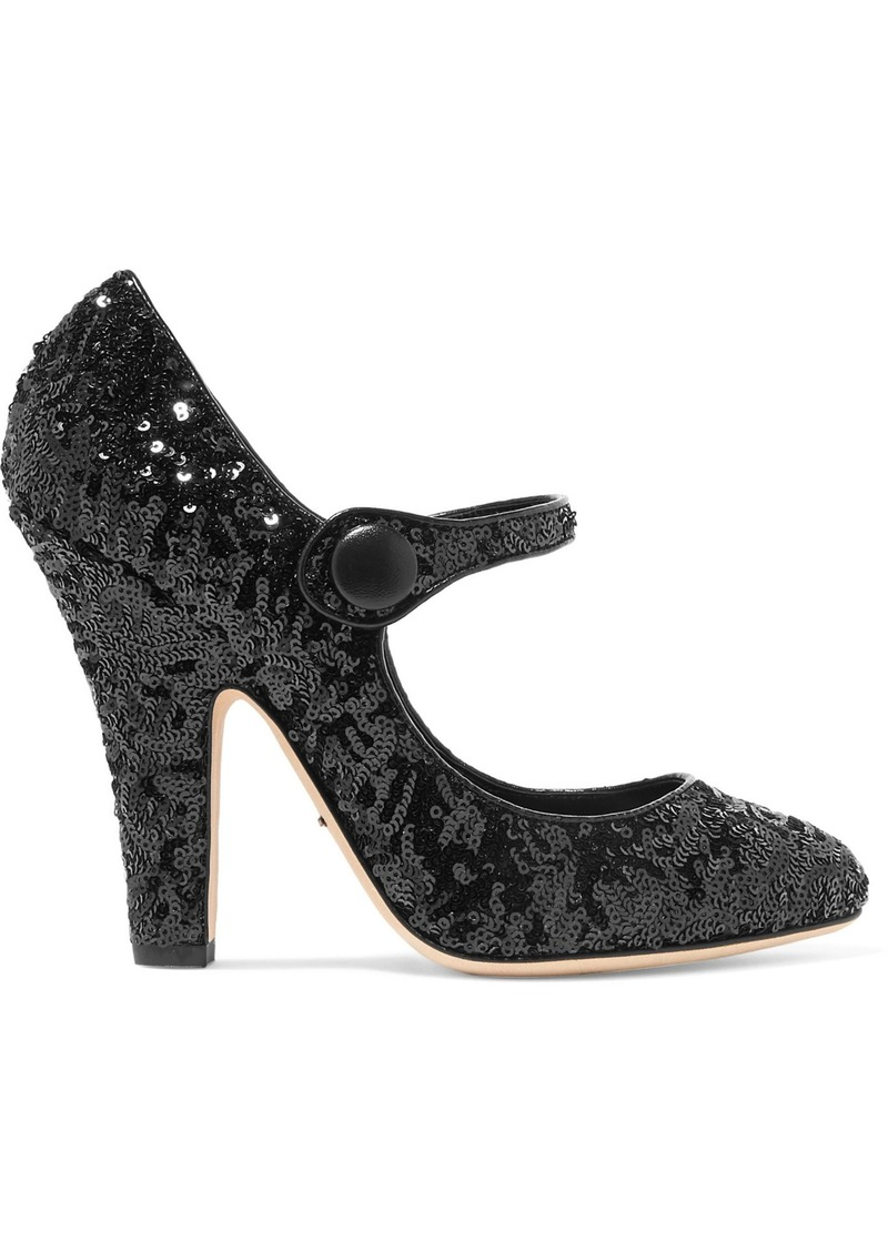 Dolce & Gabbana Woman Sequined Leather Pumps Black