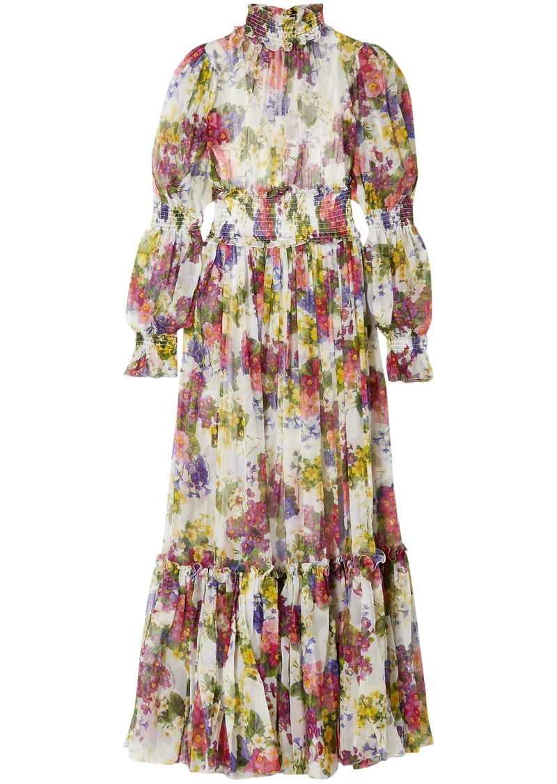 Dolce & Gabbana Woman Shirred Floral-print Silk-chiffon Maxi Dress Ivory