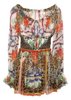 Dolce & Gabbana Woman Shirred Printed Silk-chiffon Blouse Multicolor