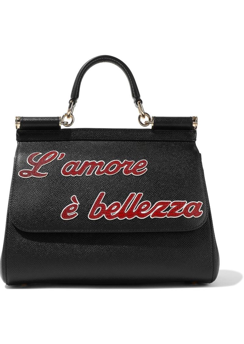 Dolce & Gabbana Woman Sicily Appliquéd Textured-leather Shoulder Bag Black