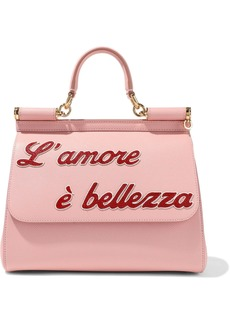 Dolce & Gabbana Woman Sicily Appliquéd Textured-leather Shoulder Bag Baby Pink