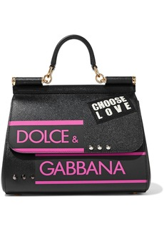 Dolce & Gabbana Woman Sicily Appliquéd Printed Textured-leather Shoulder Bag Black