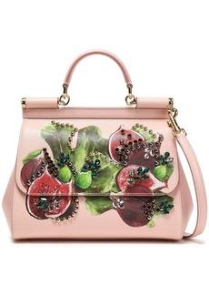 Dolce & Gabbana Woman Embellished Printed Textured-leather Shoulder Bag Pastel Pink