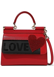 Dolce & Gabbana Woman Sicily Medium Appliquéd Printed Textured-leather Shoulder Bag Red