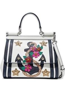 Dolce & Gabbana Woman Sicily Embellished Textured-leather Shoulder Bag White