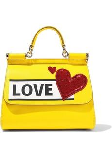 Dolce & Gabbana Woman Sicily Medium Appliquéd Printed Textured-leather Shoulder Bag Bright Yellow