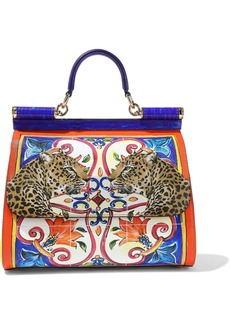 Dolce & Gabbana Woman Sicily Medium Printed Textured-leather Shoulder Bag Multicolor