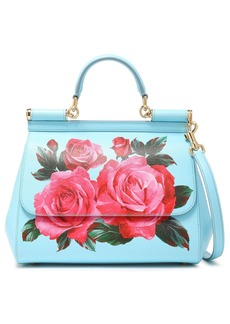Dolce & Gabbana Woman Floral-print Textured-leather Shoulder Bag Sky Blue