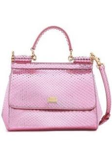 c30e00de53146 Dolce & Gabbana Woman Sicily Mini Mirrored-python Shoulder Bag Baby Pink