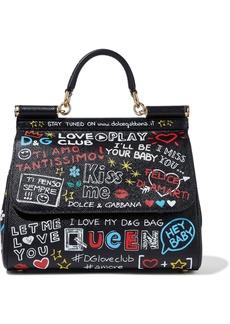 Dolce & Gabbana Woman Sicily Printed Textured-leather Shoulder Bag Black