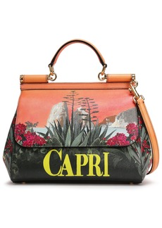 Dolce & Gabbana Woman Sicily Printed Textured-leather Shoulder Bag Orange