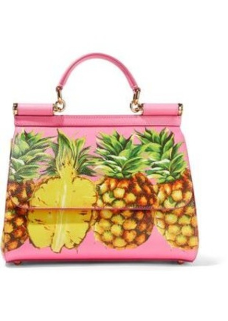 Dolce & Gabbana Woman Sicily Printed Textured-leather Shoulder Bag Pink