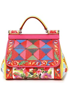 Dolce & Gabbana Woman Sicily Printed Textured-leather Shoulder Bag Red