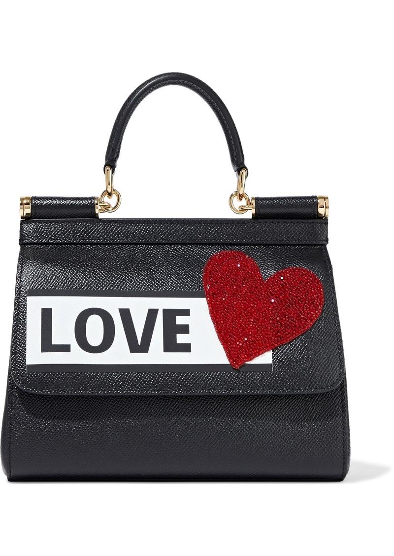 Dolce & Gabbana Woman Sicily Small Appliquéd Printed Textured-leather Shoulder Bag Black
