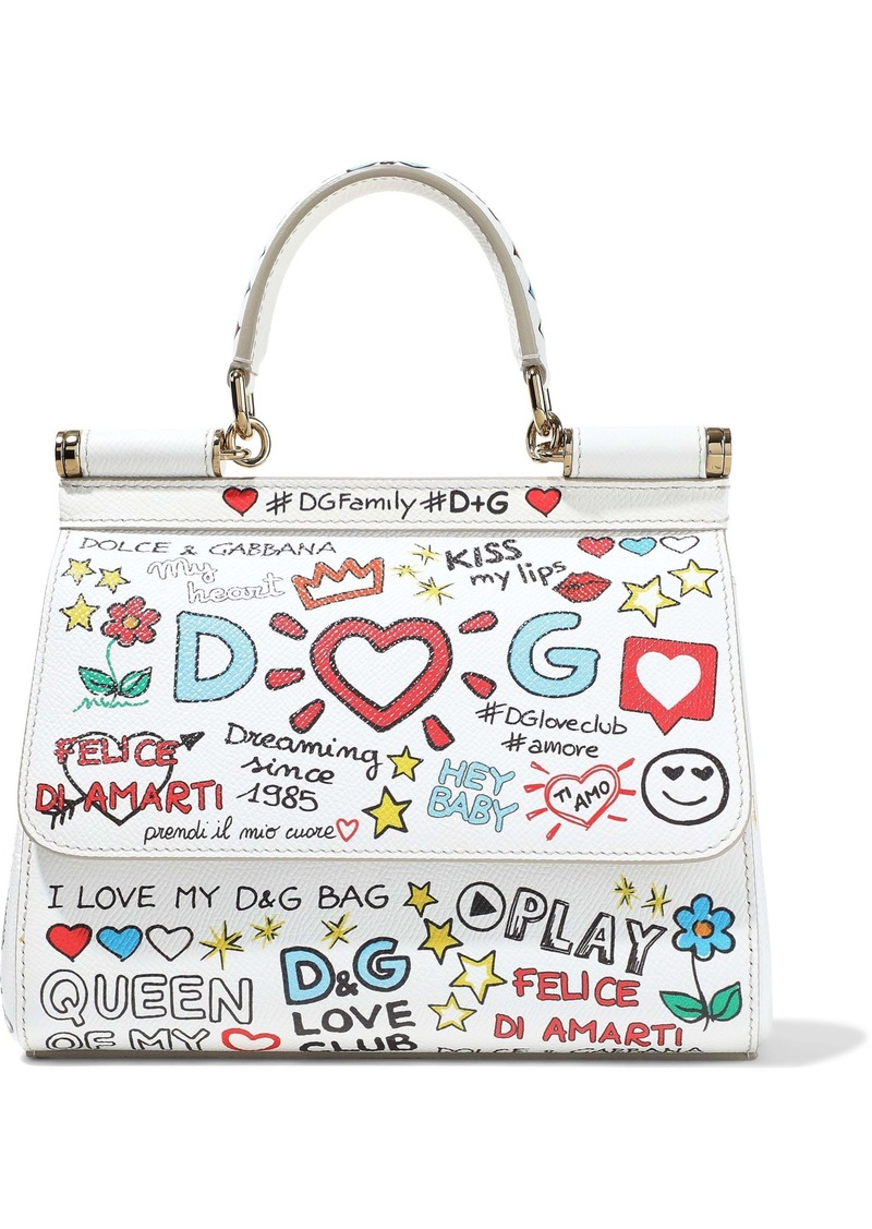 Dolce & Gabbana Woman Sicily Small Printed Textured-leather Shoulder Bag White