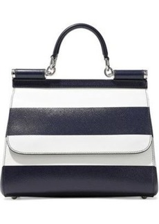 Dolce & Gabbana Woman Sicily Striped Textured-leather Shoulder Bag Navy