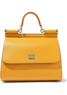 Dolce & Gabbana Woman Sicily Textured-leather Shoulder Bag Mustard