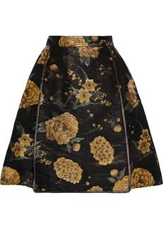 Dolce & Gabbana Woman Skirt-effect Appliquéd Metallic Floral-jacquard Shorts Black
