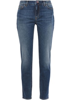 Dolce & Gabbana Woman Snap-detailed Faded Mid-rise Slim-leg Jeans Dark Denim