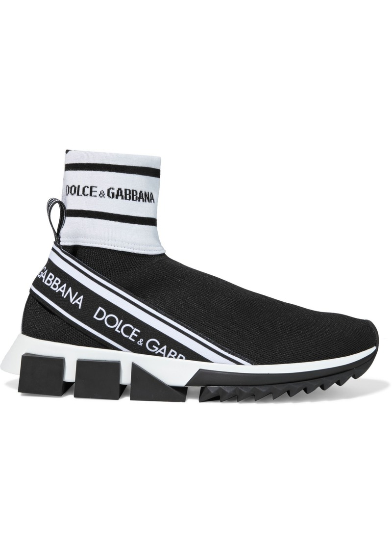 Dolce & Gabbana Woman Sorrento Stretch-knit High-top Sneakers Black