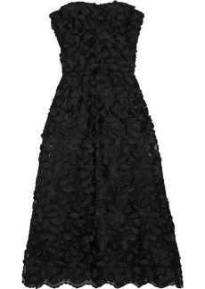 Dolce & Gabbana Woman Strapless Floral-appliquéd Tulle Midi Dress Black