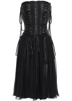 Dolce & Gabbana Woman Strapless Lace-up Silk-chiffon And Tulle Midi Dress Black