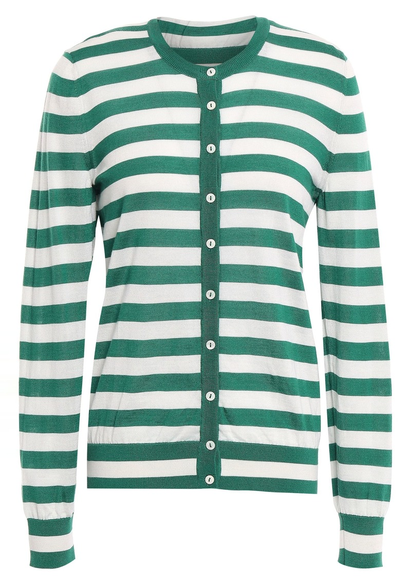 Dolce & Gabbana Woman Striped Cashmere And Silk-blend Cardigan Green