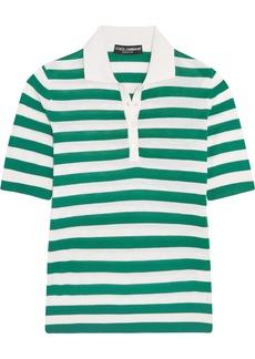 Dolce & Gabbana Woman Striped Cashmere And Silk-blend Polo Shirt Green