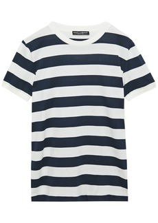 Dolce & Gabbana Woman Striped Cotton-jersey T-shirt Navy