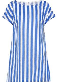 Dolce & Gabbana Woman Striped Linen And Cotton-blend Mini Dress Blue