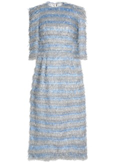 Dolce & Gabbana Woman Striped Metallic Tinsel Midi Dress Sky Blue