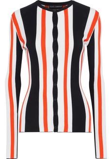 Dolce & Gabbana Woman Striped Ribbed Silk Cardigan Black