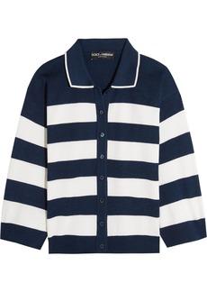 Dolce & Gabbana Woman Striped Silk-jersey Cardigan Navy