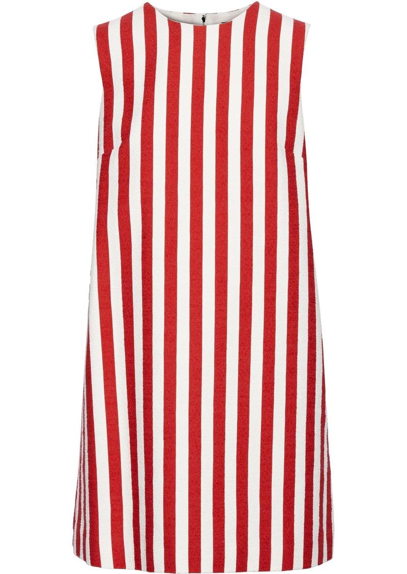 Dolce & Gabbana Woman Striped Stretch-cotton Tweed Mini Dress Red