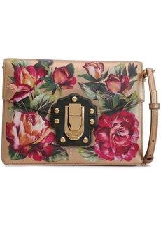 Dolce & Gabbana Woman Studded Floral-print Metallic Textured-leather Shoulder Bag Gold